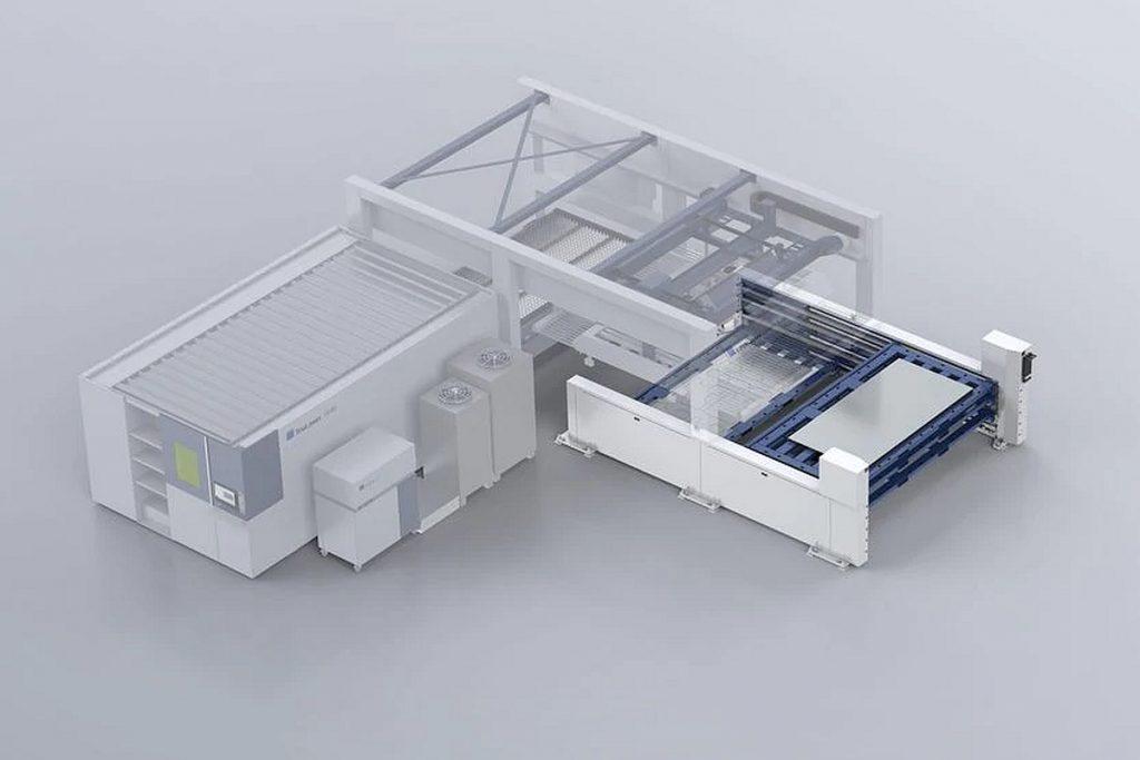 Mit dem neuen Materialspeicher von Trumpf sollen alle 2D-Laserflachbettmaschinen des Herstellers bis zu elf Stunden autonom arbeiten können. - Bild: Trumpf