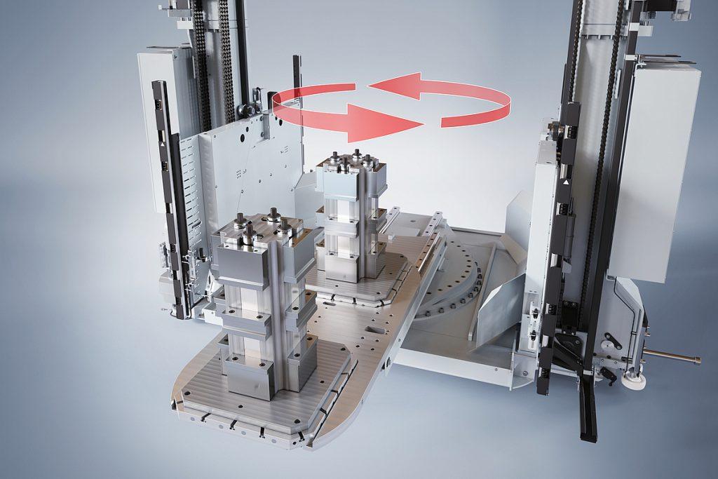 """Fastems hat mit dem """"Double Mast Crane-Automatic Pallet Changer"""", kurz DMC-APC, eine sehr robuste Lösung für den schnellen Palettenwechsel mit einem Doppelmastkran geschaffen. Aufgrund ihrer Tragfähigkeit bis 1000 kg ist sie zudem gerade auch für Werkzeugmaschinen mit höheren Werkstückgewichten ausgelegt. - Bild: Fastems"""