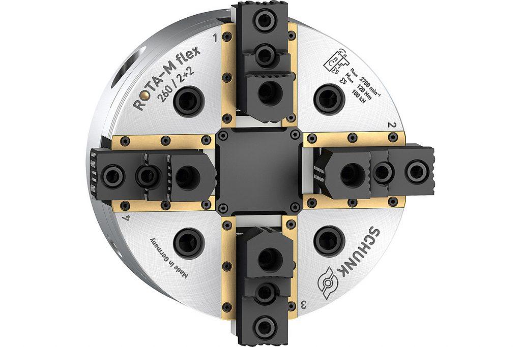 Das wartungsarme 2+2-Backenfutter Schunk Rota-M flex 2+2 hat einen speziellen Ausgleichsmechanismus, der einen besonders großen Ausgleichshub ermöglicht. - Bild: Schunk