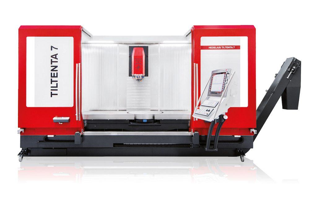Das vielseitige 5-Achs-Bearbeitungszentrum Tiltenta 7-2000 ermöglicht mit dem großen Maschinentisch 5-Achs-Bearbeitungen von Bauteilen mit einem Störkreisdurchmesser bis 1100 mm und maximal 2000 kg Aufspanngewicht. - Bild: Hedelius