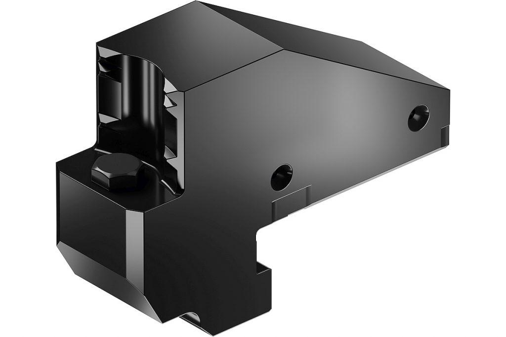 Mit seiner hochgenau gefertigten Haken-Schnellwechselschnittstelle soll das System Schunk Rapido einen rasanten Wechsel mit einer Wechselwiederholgenauigkeit kleiner 0,02 mm garantieren können. - Bild: Schunk