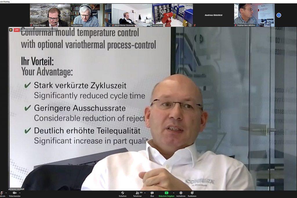 """Reiner Westhoff von  Contura MTC, einem Unternehmen, das sich mit der Entwicklung von konturfolgenden Temperierungskonzepten befasst, beleuchtete die """"Konturnahe Werkzeugtemperierung als Basis für variotherme Spritzgießprozesse"""".  - Bild: Pergler Media"""