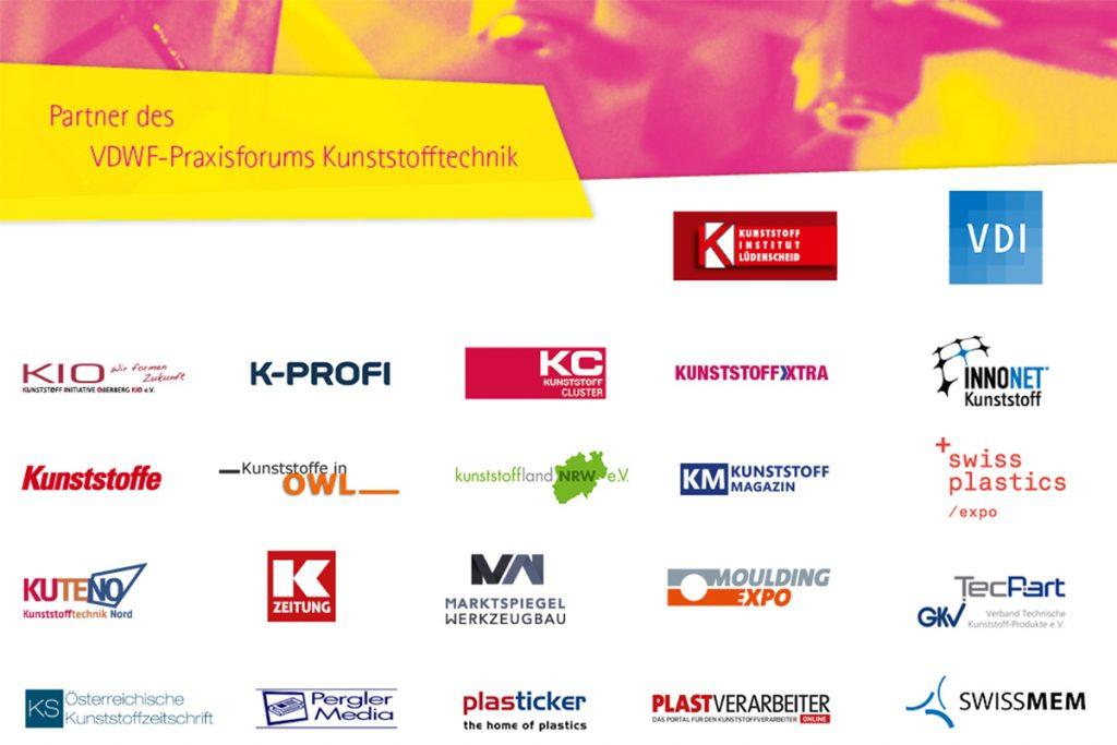 Neben den Sponsoren des Events - Contura, die Hochschule Schmalkalden, AHP Merkle, MVV Energie und Simcon - werben auch alle führenden Verbände, Cluster, Medien und Messen aus der Branche für das Praxisforum Kunststofftechnik. - Bild: VDWF/wortundform