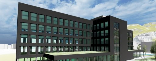 Das für die erste Bauetappe geplante Gebäude bietet Platz für 250 Mitarbeiter. Der Umzug der ersten 200 Mitarbeiter der Abteilungen Vertrieb, Marketing, Produkt und Wissensmanagement von Wolfurt nach Hohenems ist bis spätestens Ende Februar 2022 geplant. Das Investitionsvolumen für den neuen Meusburger-Standort beträgt rund 20 Mio. Euro. - Bild: Meusburger