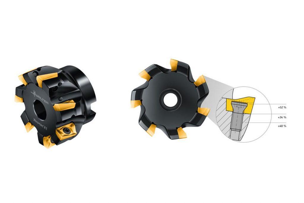 Aufgrund seiner Bauweise ist der Xtra·tec-XT-Eckfräser M5130 stabiler und prozesssicherer als bisherige Eckfräser. Er kann außerdem auch mit höheren Zahnvorschüben eingesetzt werden. Zusammen mit der höheren Zähnezahl läst sich die Produktivität somit deutlich steigern. - Bild: Walter