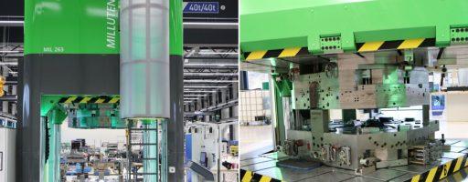 In Green-Line-Grün:: Die Millutensil MIL 263 Blue Line bei Hofmann in der Hausfarbe der Lichtenfelser Werkzeugbauer. Für die italiensichen Pressenbauer eine der leichtesten Übungen. Auf der Presse ist ein Tisch, der sich von 0° auf 120°, 180° und 240° indexieren lässt - damit können auch sehr komplexe Mehrkomponentenspritzgießformen optimal tuschiert werden. - Bild: Hofmann Werkzeugbau