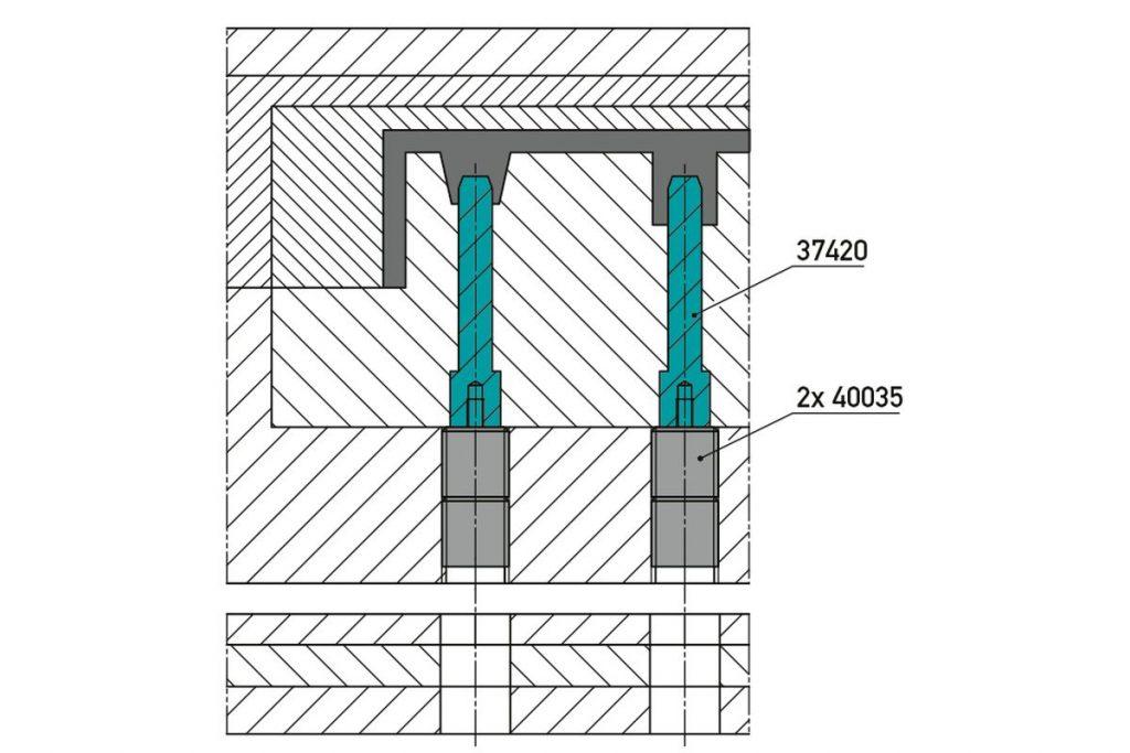 Normalienspezialist Knarr aus Helmbrechts hat einen wartungsfreundlichen Kernstift mit Gewinde entworfen, der sich zeitsparend ohne ein Zerlegen des Werkzeugs ersetzen lässt. - Bild: Knarr