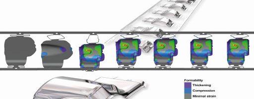 Mit ProgSim können die Konstrukteure von Folgeverbundwerkzeugen ihre Streifenlayouts effizient simulieren, zudem auch modifizieren und validieren. Die Software ermöglicht valide Einblicke in den Umformprozess. So lassen sich noch vor der eigentlichen Fertigung bereits die Korrekturmaßnahmen direkt am Computerbildschirm ausführen. - Bild: Logopress