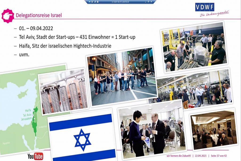 Optimistischer Blick nach vorn: Der VDWF informiert über seine für das kommende Jahr geplante Delegationsreise nach Israel. Neben Besuchen bei Werkzeug- und Formenbauern stehen dort auch Land, Kultur und Zulieferindustrie auf dem Programm der Tour. - Bild: Pergler Media