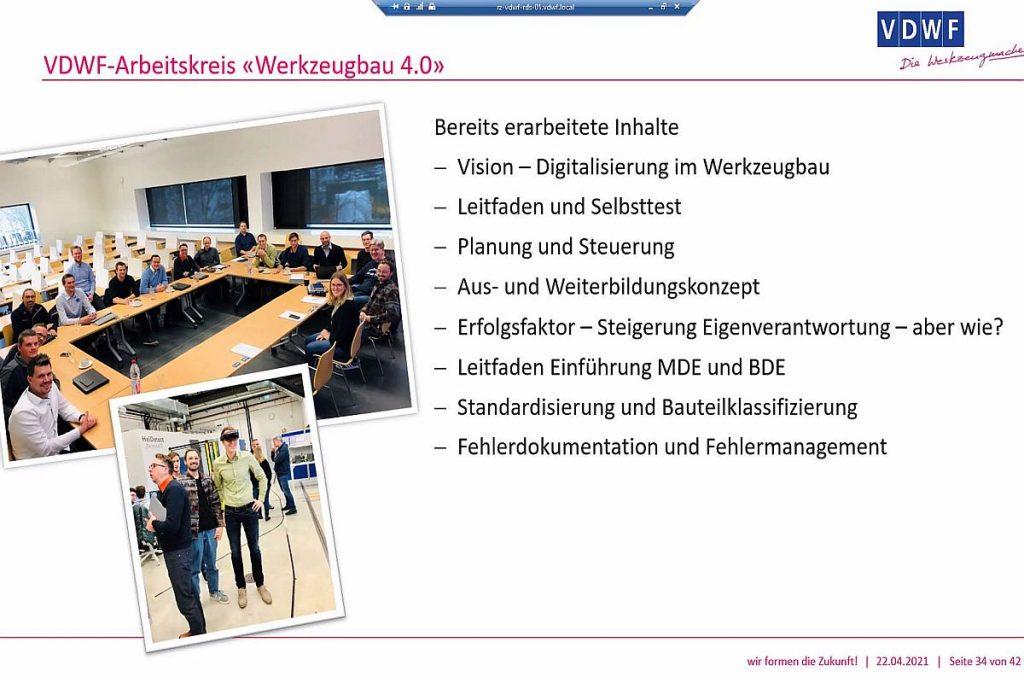 """Im VDWF-Arbeitskreis """"Werkzeugbau 4.0""""  erarbeiten die Teilnehmer unter der Leitung von Jens Lüdtke von Tebis Consulting die wichtigen Inhalte zum Thema Werkzeugbau und Digitalisierung. Das Themenspektrum, das zeigt die Präsentation bei """"VDWF informiert"""",  reicht dabei von der Vision einer Digitalisierung im Werkzeug- und Formenbau über einen Leitfaden mit Selbsttest bis hin zu einem tragfähigen Aus- und Weiterbildungskonzept. - Bild: Pergler Media"""