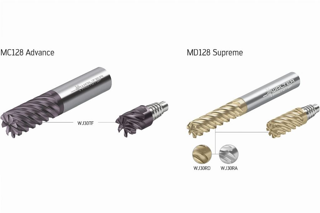Die hochzahnigen Schlichtfräser der Baureihen MC128 Advance und MD128 Supreme sind laut dem Tübinger Präzisionswerkzeughersteller Walter das derzeit breiteste VHM-Fräserprogramm zum Semi-Schlichten und Schlichten. - Bild: Walter