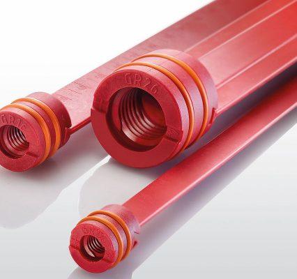 Die neuen Umlenkstege für die Kernkühlung sollen laut Hersteller speziell bei Hochtemperaturanwendungen mit Wasser und außerdem mit Öl bis 180 °C beste Voraussetzungen für eine effiziente Temperierung schaffen. Hasco verwendet für diese Komponenten daher hochwertige Materialien, die auf einen Einsatz in diesem Temperaturspektrum hin ausgelegt sind. - Bild: Hasco