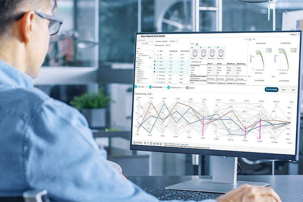 Das Altair Material Data Center vereinfacht den Zugriff auf Materialdaten und hilft in Kombination mit Material Test Data Automation und Verfahren aus dem Bereich Künstliche Intelligenz, Materialversuche zu reduzieren. - Bild: Altair